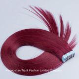 """22 """" 빨간 머리 20PCS 테이프 머리 연장 Remy 머리 파랑은 접착제로 붙인다"""