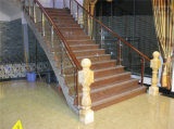 Apoyabrazos de madera de acero de cristal modernos de la escalera