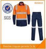 camisa del Workwear 100%Cotton y bragas ignífugas anaranjadas de la marina de guerra