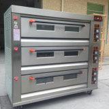 Four commercial de pizza de base de pierre de gaz de plateaux du paquet 9 de la cuisine 3 de qualité