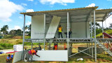 Fácil instalar casa pré-fabricada da casa de campo do painel de sanduíche do frame de aço