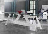 現代簡単で白いガラス表のイタリアのガラス食事の机(NK-DT247-1)