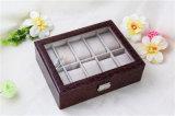 Organizador de couro personalizado personalizado da caixa de relógio do plutônio