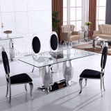 Glass Tempered Dining Table con Metal Base