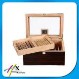 Rectángulo de cigarro de madera del Humidor de la ventana del diseño de cigarro del cedro sólido de madera especial del rectángulo