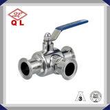 304 ou robinet à tournant sphérique serré à trois voies sanitaire de l'acier inoxydable 316L
