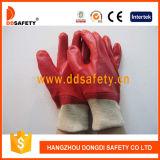 Красная перчатка Dpv100 вкладыша блокировки PVC польностью окунутая работая