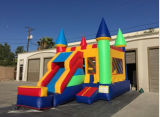 Water Slide Commercial Inflatable Convertible Wet / Dry Bounce House