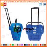 Panier à provisions en plastique des bons prix avec la barre d'attraction (Zhb22)