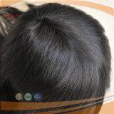 Mono borde completo de la PU del cordón todo el tipo atado mano peluca del Toupee del pelo humano del negro de jet