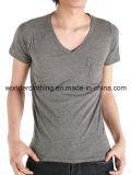 V bon marché et T-shirt rond d'hommes de plaine de mode de vente en gros de cou