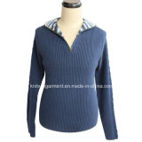 Zipper (M15-029)를 가진 남자 Knitted Turtle Neck Long Sleeve Fashion Jacket