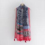 Sciarpa di seta viscosa stampata Paisley di modo delle donne (YKY1147)