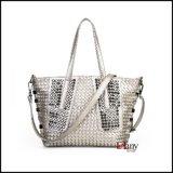 Plutônio Leather Shopping Tote Bag do Weave para Ladies