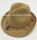 Sombrero natural de papel del sombrero de paja con el encadenamiento de Colouized (Sh036)