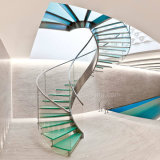 Escadaria espiral moderna no vidro e no aço inoxidável