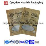 Porcas de selos laterais do produto comestível três do projeto do entalhe do rasgo que empacotam o saco