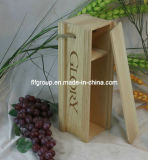 Rectángulo de madera modificado para requisitos particulares respetuoso del medio ambiente justo del vino del color natural del precio bajo del cantón