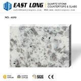 Branco com as lajes de vidro Sparkling pouco cinzentas da pedra de quartzo