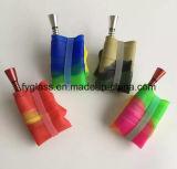 tubo di plastica di fumo del metallo del concentrato dell'olio del silicone di 20cm di acqua del tubo di vetro pieghevole del tubo variopinto