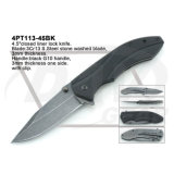 "4.5 ""Closed Black G10 Handle Knife con la piedra lavada: 4PT112-45bk"