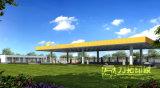給油所の建物3Dのレンダリング