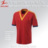 Полиэфир 100% подгонял любой комплект рубашки футбола Джерси футбола логоса