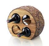 Cremalheira de madeira do vinho da bancada com casca natural, suporte 4-Bottles