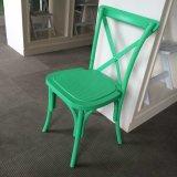 녹색 합성 수지 PP 쌓을수 있는 십자가 뒤 의자