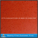 Vermelho de superfície contínuo artificial/preto/lajes amarelas da pedra de quartzo das cores
