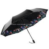 Sonniger und regnerischer schwarzer Beschichtung-gute Qualitätslichtschutz-faltender Regenschirm