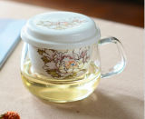 Copo cerâmico gravado do vidro de Borosilicate do copo de café do escritório do filtro da flor