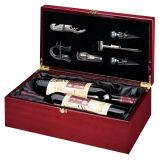 Vakje van de Gift van de Presentatie van de Wijn van het rozehout het Glanzende Houten met Hulpmiddelen
