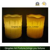Flammenlose LED-Kerze-Weiße Farbe und Bratenfett-Ende-Set von 3