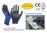 18 Anzeigeinstrument-Marine-Blau-Nylon/schwarze PU-Handschuhe