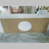 Bancadas de pedra de superfície contínuas do banheiro de quartzo bege