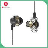 耳3.5mmの金属は二重移動コイルが付いているイヤホーンをワイヤーで縛った