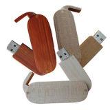 Flash Drive USB giratorio de madera con grabados con láser logos