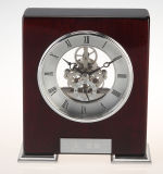Skeleton Brass Movement Creative Horloge de bureau en bois K8037