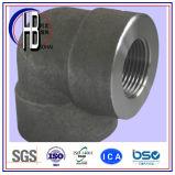 Cuerda de rosca de la fuente de la fábrica que ajusta el codo del acero de carbón de 90 grados