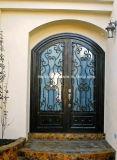 Lichtbogen-Oberseite Hand-Crafted bearbeitetes Eisen-Doppelt-Eingangs-Haustüren für Haus