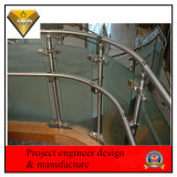 Pasamano de la caja de la escalera del acero inoxidable con el vidrio Tempered