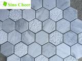 Azulejo blanco de mármol del hexágono de Carrara del mosaico del suelo