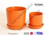 陶磁器のブラウンカラー植木鉢は3のセットした