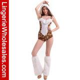 Печати тигра женщин Costume Romper сексуальной открытый назад с уравновешиванием шерсти Faux