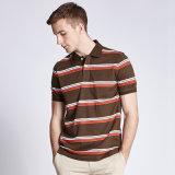 T-shirt rayé de Mens d'usine de la Chine de collier fait sur commande bon marché de polo