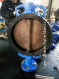 O tipo alinhado EPDM Ductile válvula da bolacha do ferro de borboleta com caixa de engrenagens opera-se