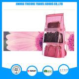 Прозрачный PVC и Non-Woven розовый вися карманный мешок хранения устроителя