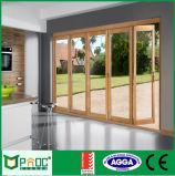 Дверь деревянного зерна нутряная алюминиевая Bi-Fold