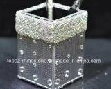 Cadre en cristal de tissu de Rhinestone de tube à mémoire de Rhinestone de support de crayon lecteur d'argent de collant (TB-argent)